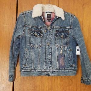Gap kids NWT denim jacket with shearling collar